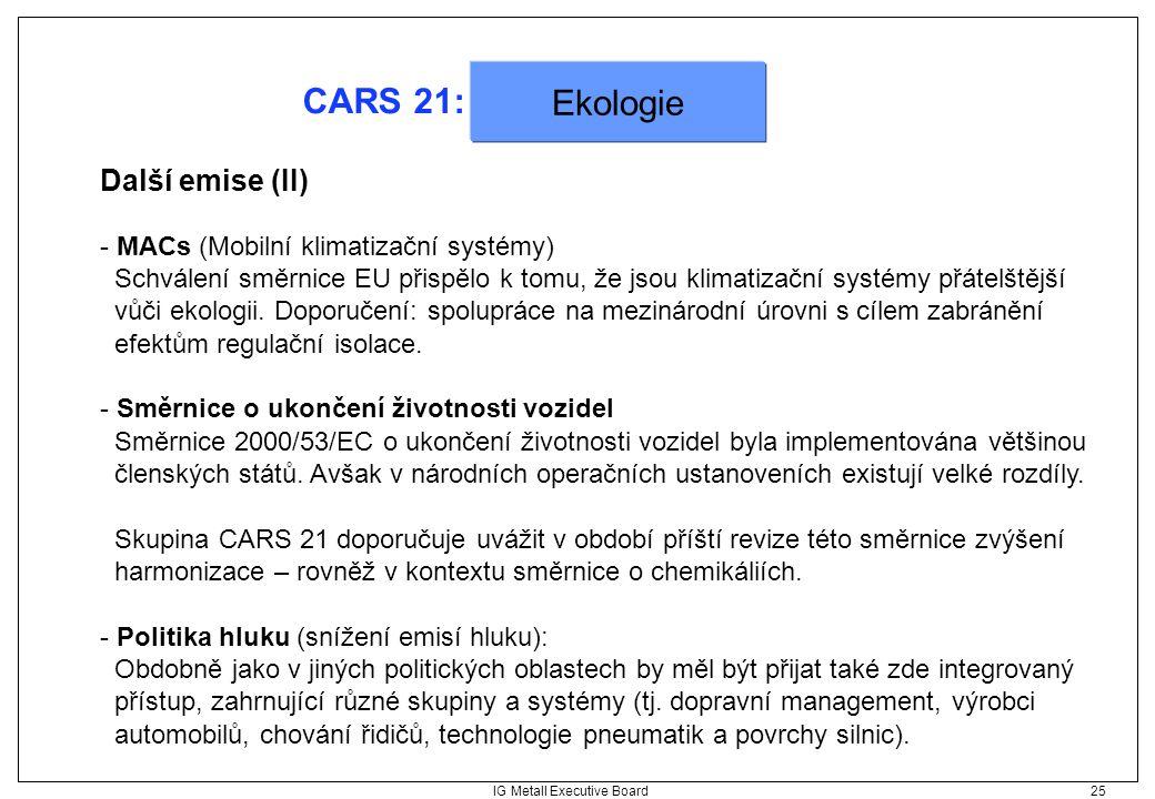 IG Metall Executive Board 25 CARS 21: Další emise (II) - MACs (Mobilní klimatizační systémy) Schválení směrnice EU přispělo k tomu, že jsou klimatizač