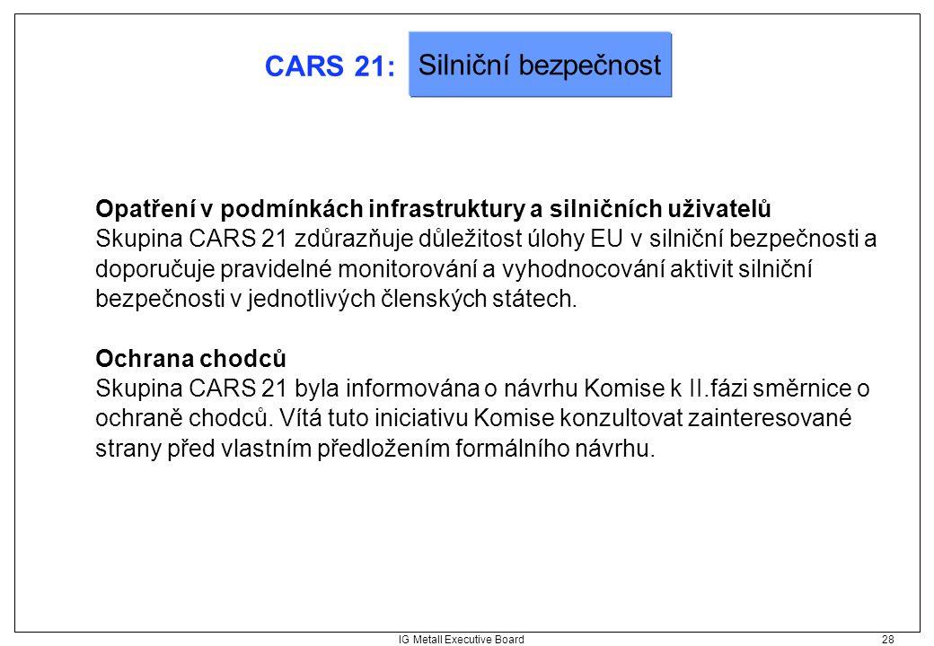 IG Metall Executive Board 28 CARS 21: Opatření v podmínkách infrastruktury a silničních uživatelů Skupina CARS 21 zdůrazňuje důležitost úlohy EU v sil
