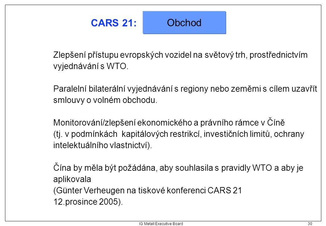 IG Metall Executive Board 30 CARS 21: Zlepšení přístupu evropských vozidel na světový trh, prostřednictvím vyjednávání s WTO. Paralelní bilaterální vy