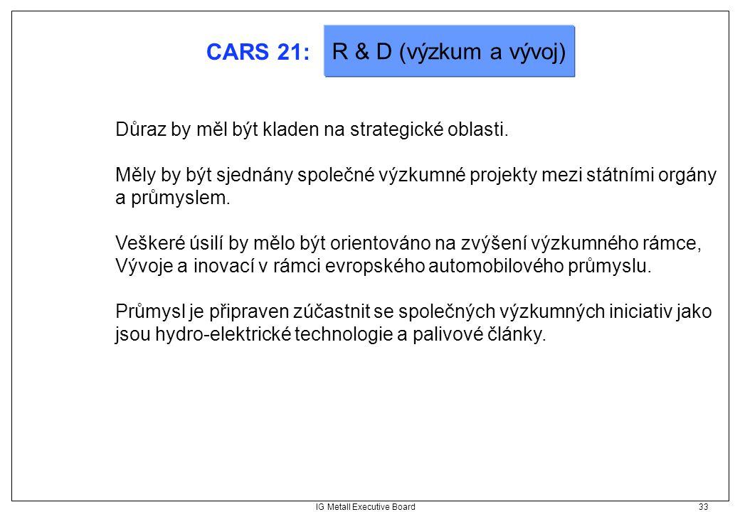 IG Metall Executive Board 33 CARS 21: Důraz by měl být kladen na strategické oblasti. Měly by být sjednány společné výzkumné projekty mezi státními or
