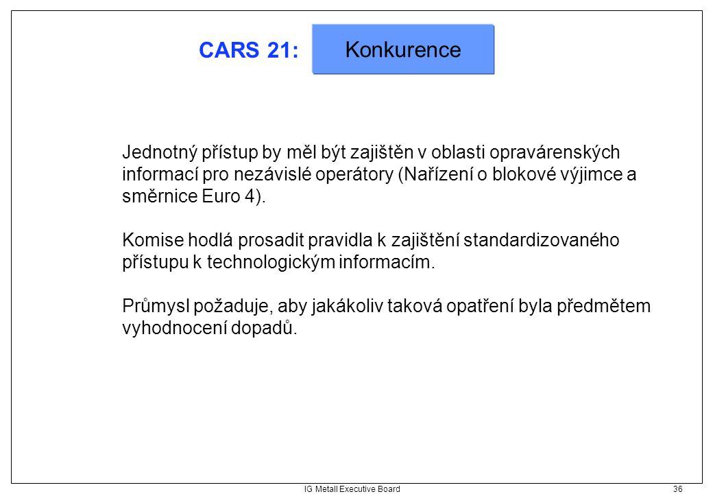 IG Metall Executive Board 36 CARS 21: Jednotný přístup by měl být zajištěn v oblasti opravárenských informací pro nezávislé operátory (Nařízení o blok