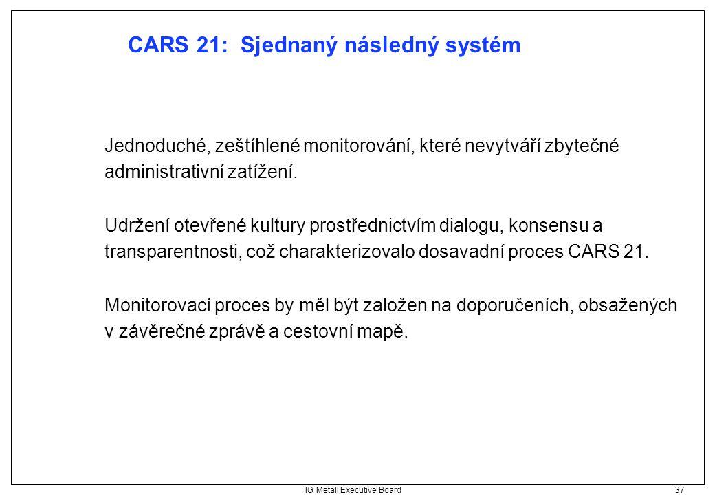 IG Metall Executive Board 37 CARS 21: Sjednaný následný systém Jednoduché, zeštíhlené monitorování, které nevytváří zbytečné administrativní zatížení.