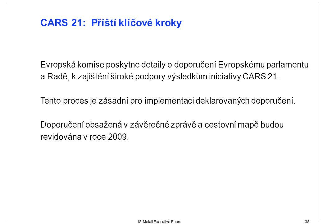 IG Metall Executive Board 38 CARS 21: Příští klíčové kroky Evropská komise poskytne detaily o doporučení Evropskému parlamentu a Radě, k zajištění šir