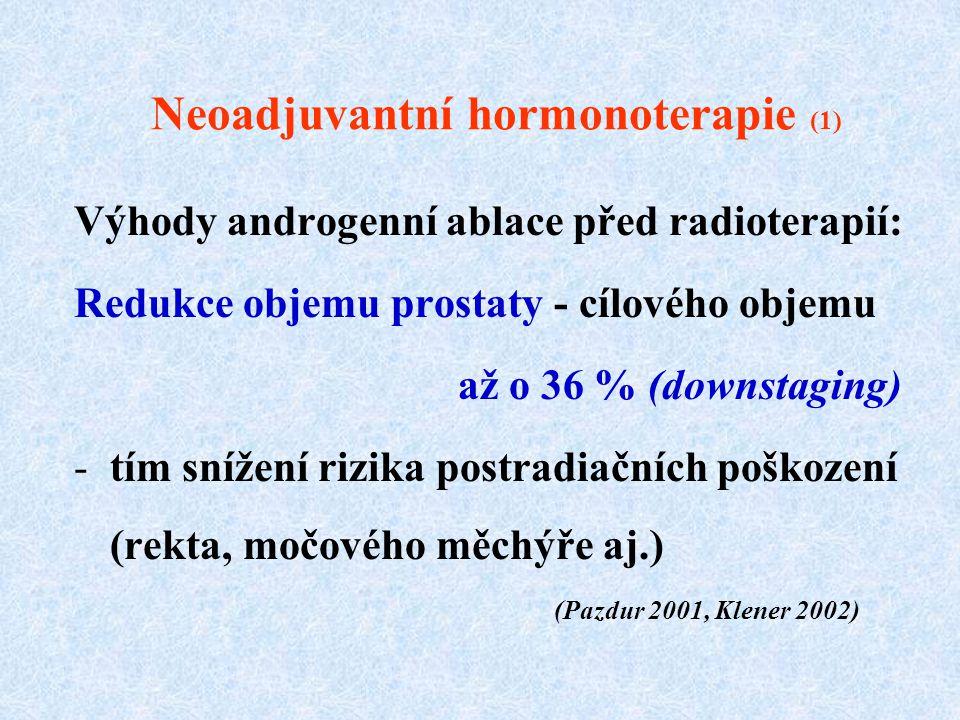 Neoadjuvantní hormonoterapie (1) Výhody androgenní ablace před radioterapií: Redukce objemu prostaty - cílového objemu až o 36 % (downstaging) -tím sn