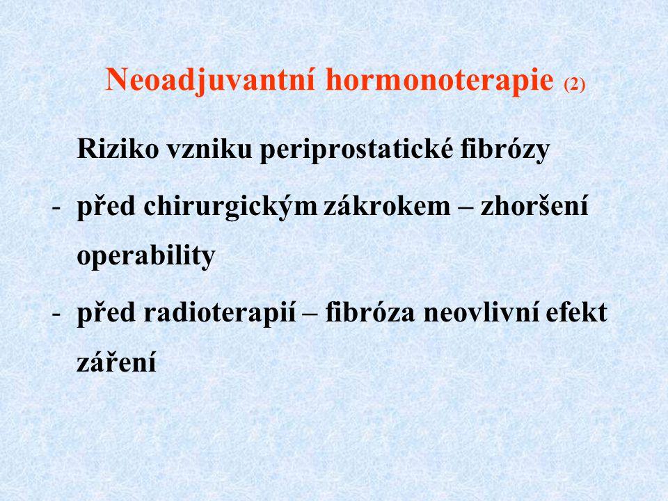 Neoadjuvantní hormonoterapie (2) Riziko vzniku periprostatické fibrózy -před chirurgickým zákrokem – zhoršení operability -před radioterapií – fibróza