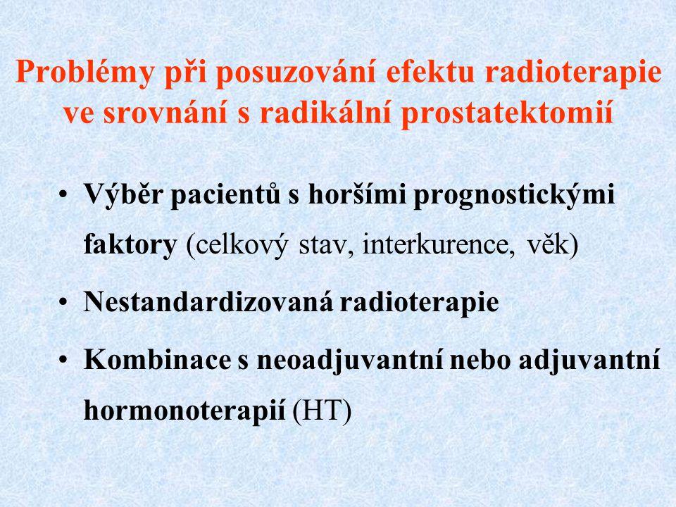 Problémy při posuzování efektu radioterapie ve srovnání s radikální prostatektomií Výběr pacientů s horšími prognostickými faktory (celkový stav, inte