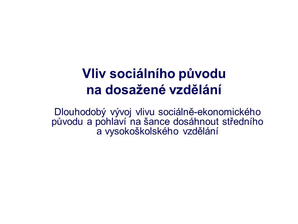 Vliv sociálního původu na dosažené vzdělání Dlouhodobý vývoj vlivu sociálně-ekonomického původu a pohlaví na šance dosáhnout středního a vysokoškolské