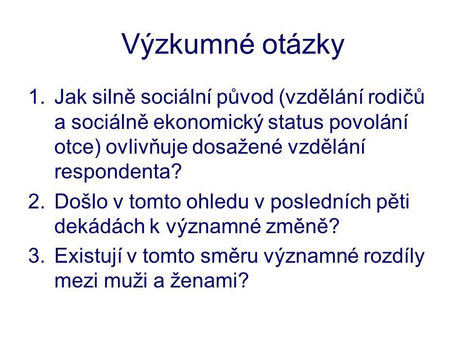 Výzkumné otázky 1.Jak silně sociální původ (vzdělání rodičů a sociálně ekonomický status povolání otce) ovlivňuje dosažené vzdělání respondenta? 2.Doš