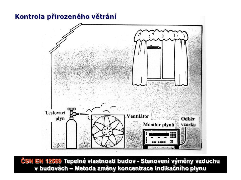 ČSN EN 12569 Tepelné vlastnosti budov - Stanovení výměny vzduchu v budovách – Metoda změny koncentrace indikačního plynu Kontrola přirozeného větrání