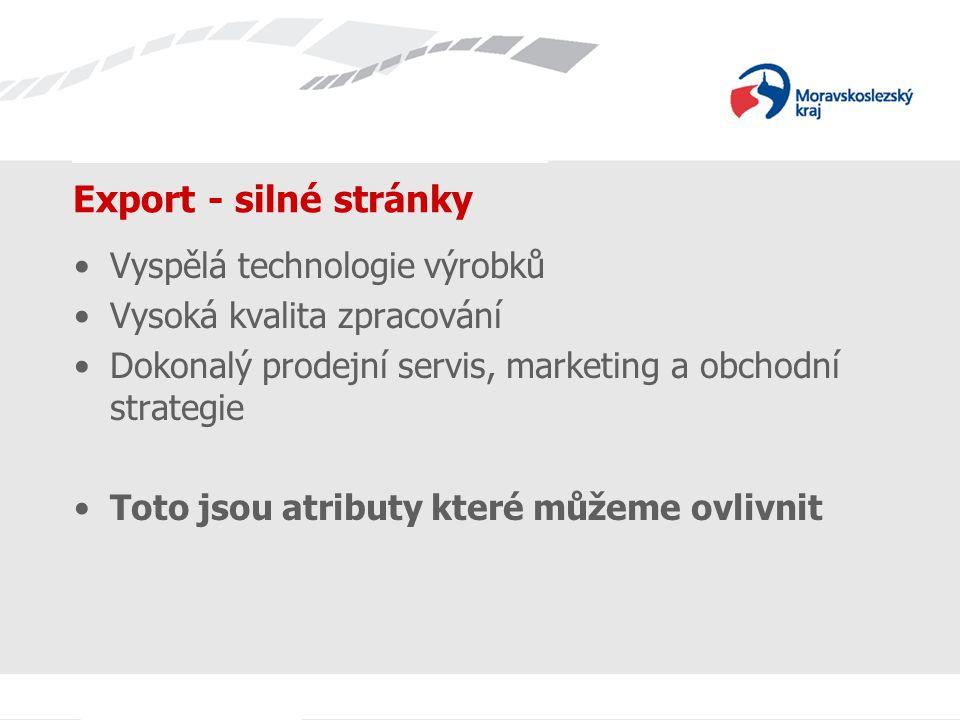 Název prezentace Export - silné stránky Vyspělá technologie výrobků Vysoká kvalita zpracování Dokonalý prodejní servis, marketing a obchodní strategie Toto jsou atributy které můžeme ovlivnit