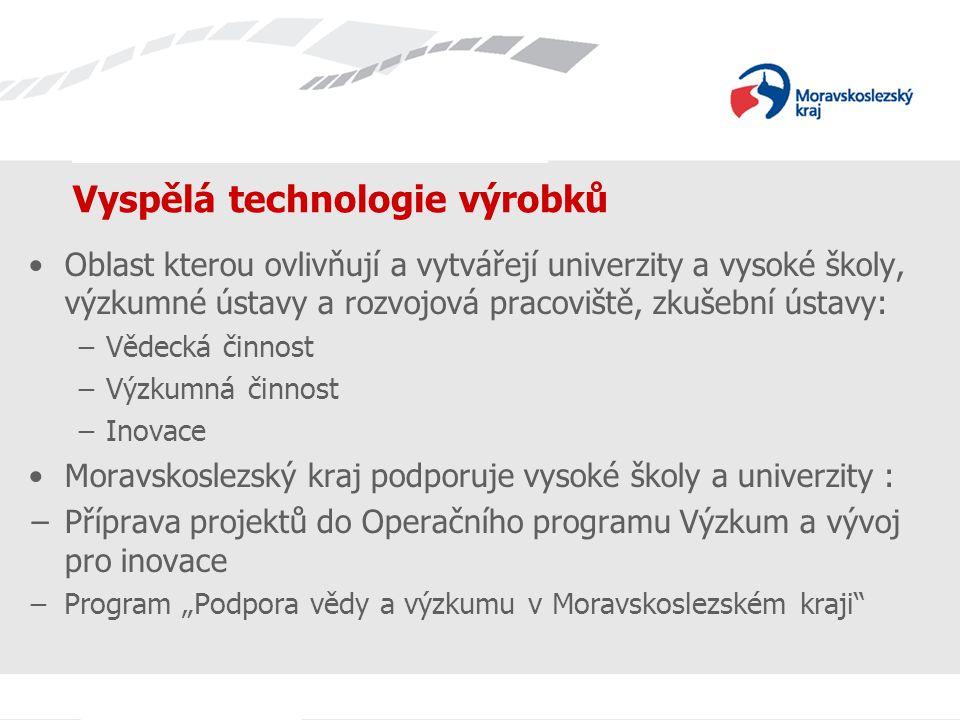 """Název prezentace Vyspělá technologie výrobků Oblast kterou ovlivňují a vytvářejí univerzity a vysoké školy, výzkumné ústavy a rozvojová pracoviště, zkušební ústavy: −Vědecká činnost −Výzkumná činnost −Inovace Moravskoslezský kraj podporuje vysoké školy a univerzity : −Příprava projektů do Operačního programu Výzkum a vývoj pro inovace −Program """"Podpora vědy a výzkumu v Moravskoslezském kraji"""