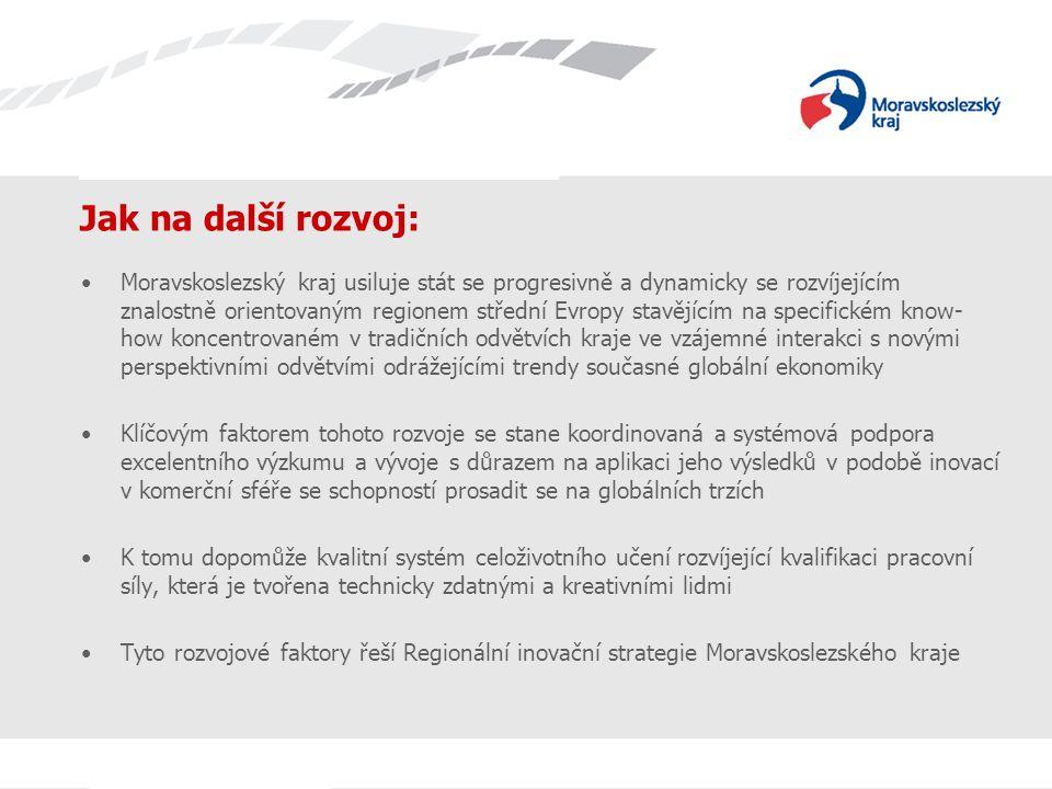 Název prezentace Jak na další rozvoj: Moravskoslezský kraj usiluje stát se progresivně a dynamicky se rozvíjejícím znalostně orientovaným regionem střední Evropy stavějícím na specifickém know- how koncentrovaném v tradičních odvětvích kraje ve vzájemné interakci s novými perspektivními odvětvími odrážejícími trendy současné globální ekonomiky Klíčovým faktorem tohoto rozvoje se stane koordinovaná a systémová podpora excelentního výzkumu a vývoje s důrazem na aplikaci jeho výsledků v podobě inovací v komerční sféře se schopností prosadit se na globálních trzích K tomu dopomůže kvalitní systém celoživotního učení rozvíjející kvalifikaci pracovní síly, která je tvořena technicky zdatnými a kreativními lidmi Tyto rozvojové faktory řeší Regionální inovační strategie Moravskoslezského kraje