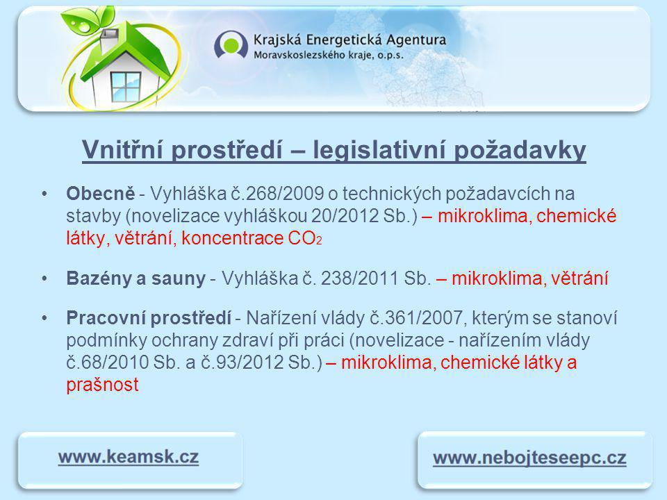 Vnitřní prostředí – legislativní požadavky Pobytové - č.