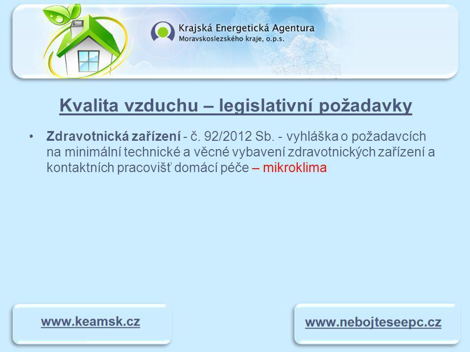 Kvalita vzduchu – legislativní požadavky Zdravotnická zařízení - č.
