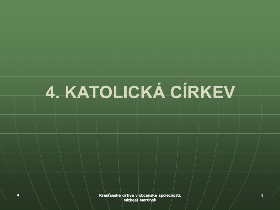4 Křesťanské církve v občanské společnosti. Michael Martinek 2 4. KATOLICKÁ CÍRKEV