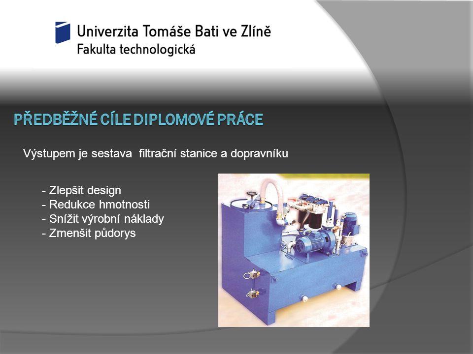 - Zlepšit design - Redukce hmotnosti - Snížit výrobní náklady - Zmenšit půdorys Výstupem je sestava filtrační stanice a dopravníku