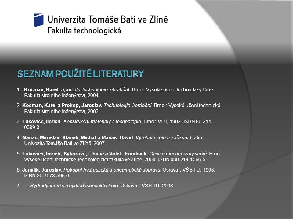 1.Kocman, Karel. Speciální technologie. obrábění. Brno : Vysoké učení technické y Brně, Fakulta strojního inženýrství, 2004. 2. Kocman, Karel a Prokop