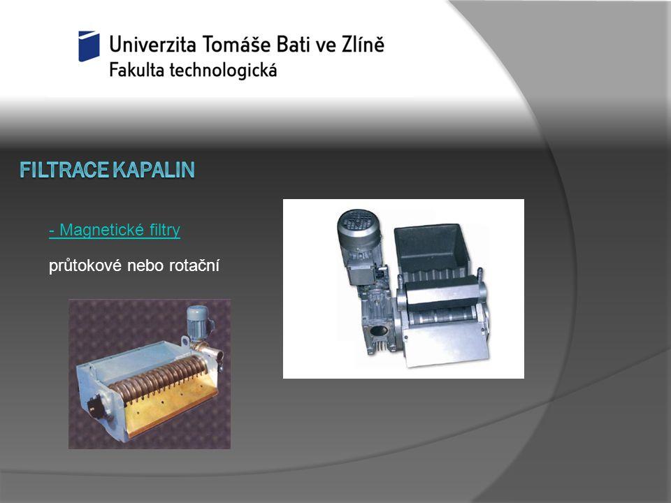 - Magnetické filtry průtokové nebo rotační