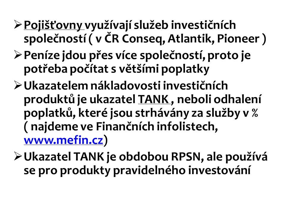  Pojišťovny využívají služeb investičních společností ( v ČR Conseq, Atlantik, Pioneer )  Peníze jdou přes více společností, proto je potřeba počíta