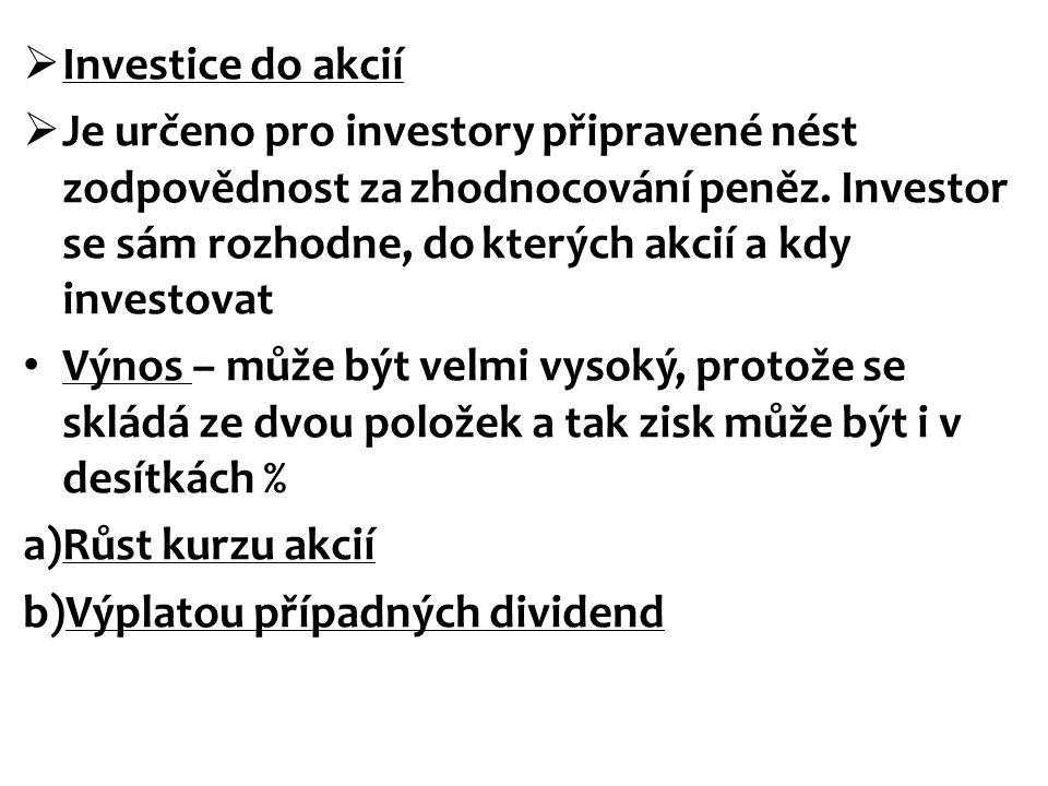  Investice do akcií  Je určeno pro investory připravené nést zodpovědnost za zhodnocování peněz. Investor se sám rozhodne, do kterých akcií a kdy in