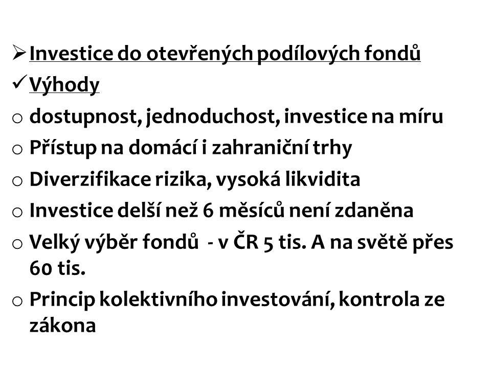  Investice do otevřených podílových fondů Výhody o dostupnost, jednoduchost, investice na míru o Přístup na domácí i zahraniční trhy o Diverzifikace