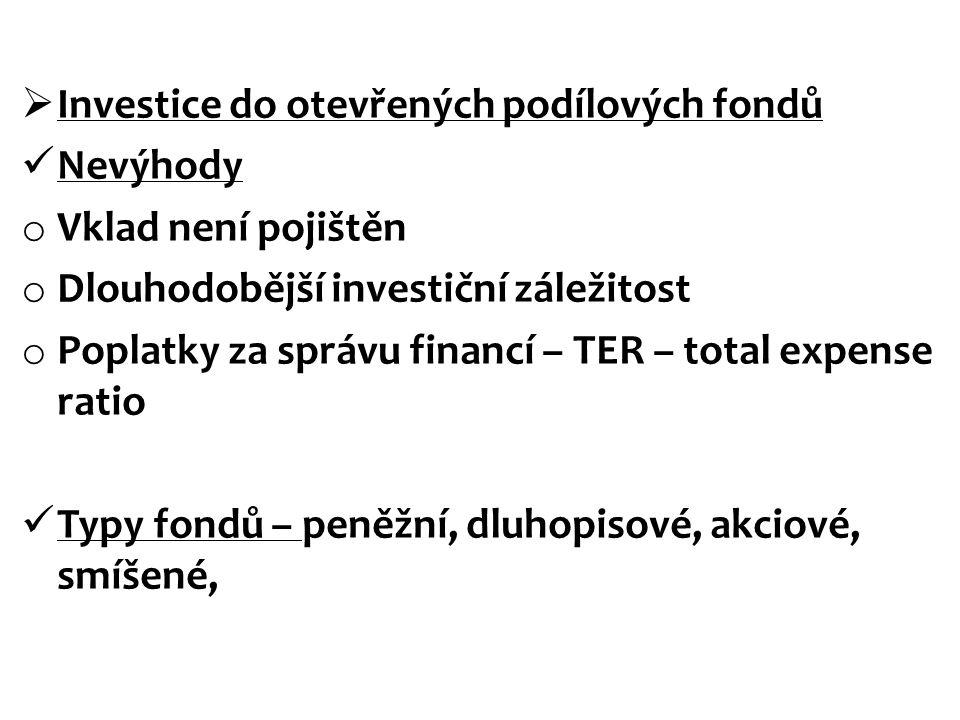  Investice do otevřených podílových fondů Nevýhody o Vklad není pojištěn o Dlouhodobější investiční záležitost o Poplatky za správu financí – TER – t