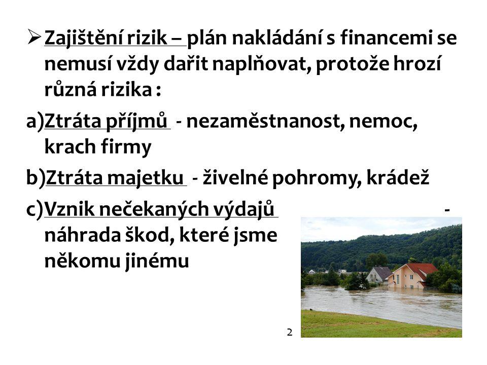  Zajištění rizik – plán nakládání s financemi se nemusí vždy dařit naplňovat, protože hrozí různá rizika : a)Ztráta příjmů - nezaměstnanost, nemoc, k