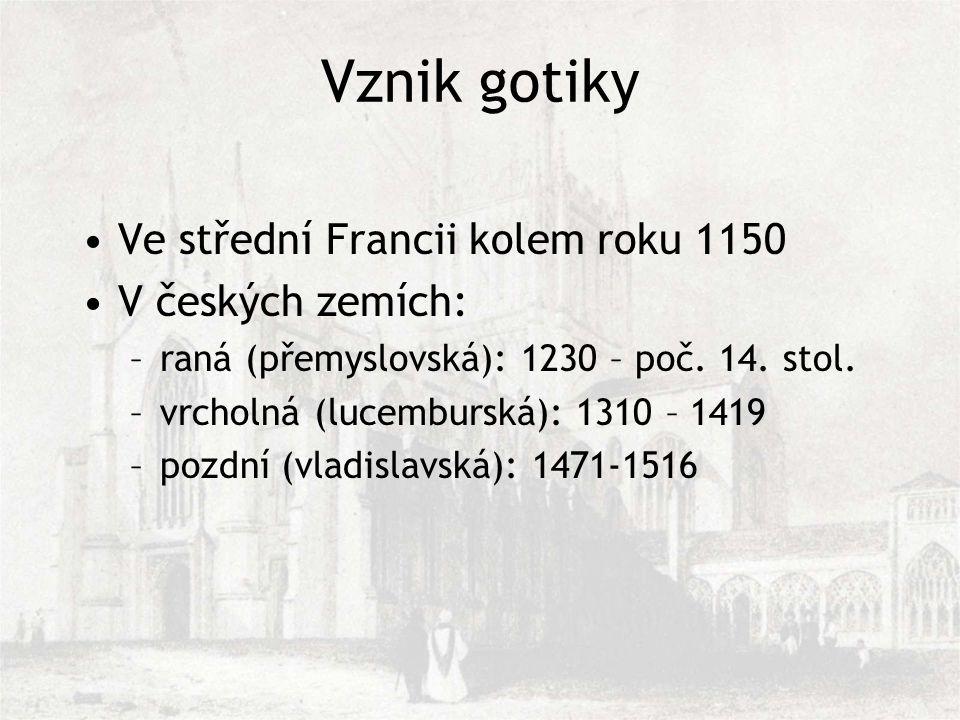 Vznik gotiky Ve střední Francii kolem roku 1150 V českých zemích: –raná (přemyslovská): 1230 – poč.