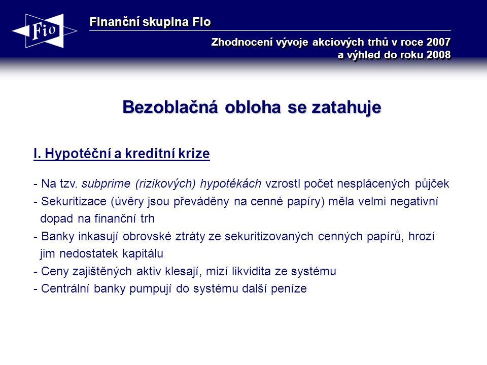 Finanční skupina Fio Zhodnocení vývoje akciových trhů v roce 2007 a výhled do roku 2008 Bezoblačná obloha se zatahuje I.