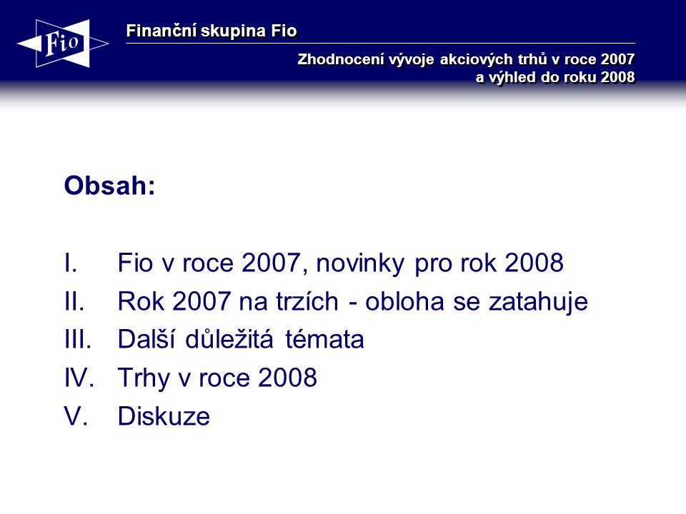 Finanční skupina Fio Zhodnocení vývoje akciových trhů v roce 2007 a výhled do roku 2008 Obsah: I.Fio v roce 2007, novinky pro rok 2008 II.Rok 2007 na trzích - obloha se zatahuje III.Další důležitá témata IV.Trhy v roce 2008 V.Diskuze
