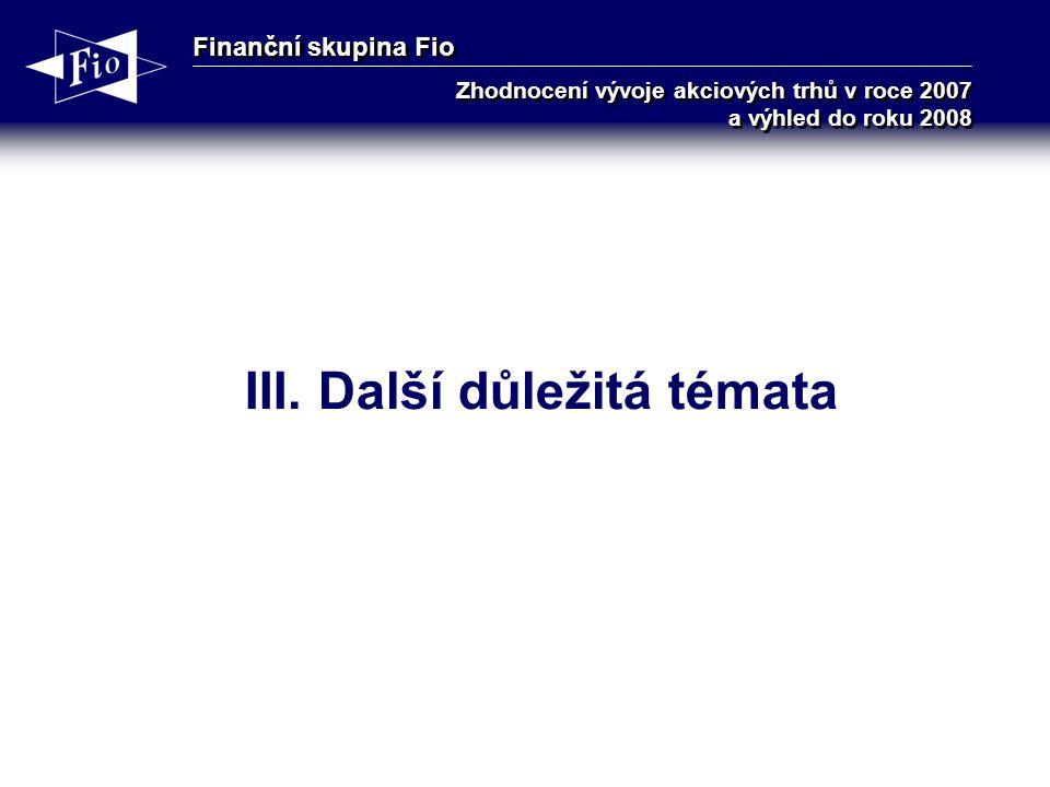 Finanční skupina Fio Zhodnocení vývoje akciových trhů v roce 2007 a výhled do roku 2008 III.
