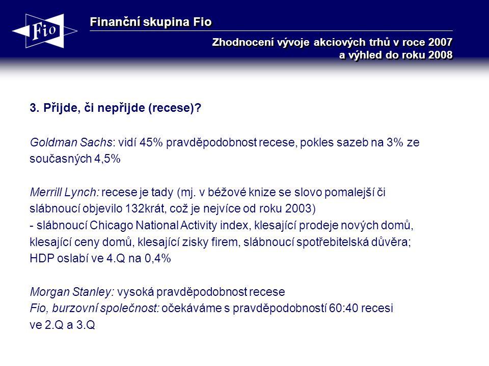 Finanční skupina Fio Zhodnocení vývoje akciových trhů v roce 2007 a výhled do roku 2008 3.