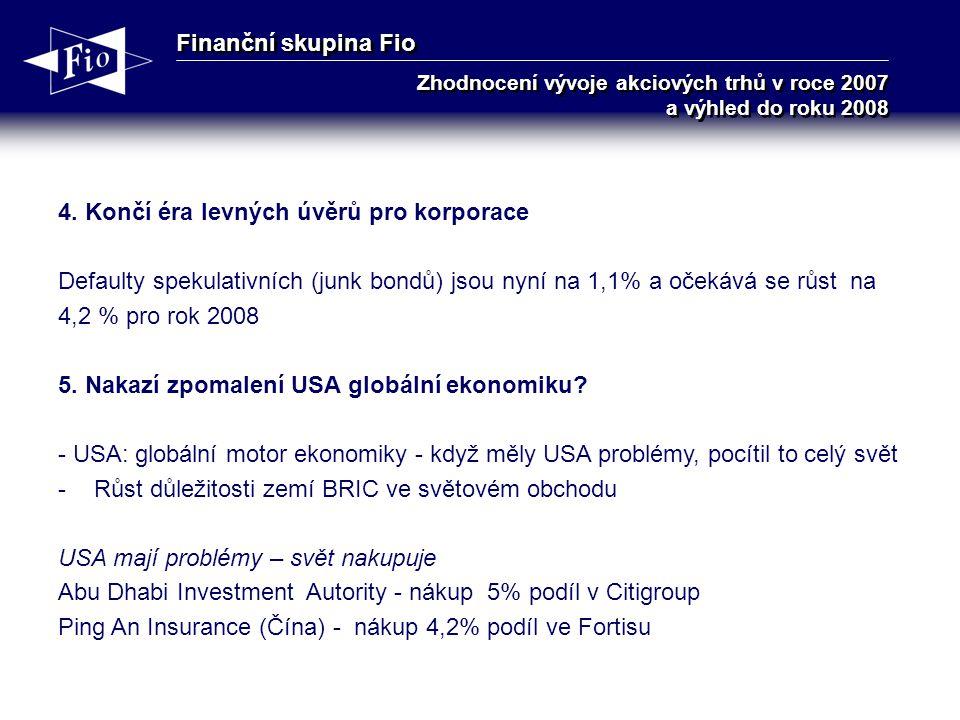Finanční skupina Fio Zhodnocení vývoje akciových trhů v roce 2007 a výhled do roku 2008 4.