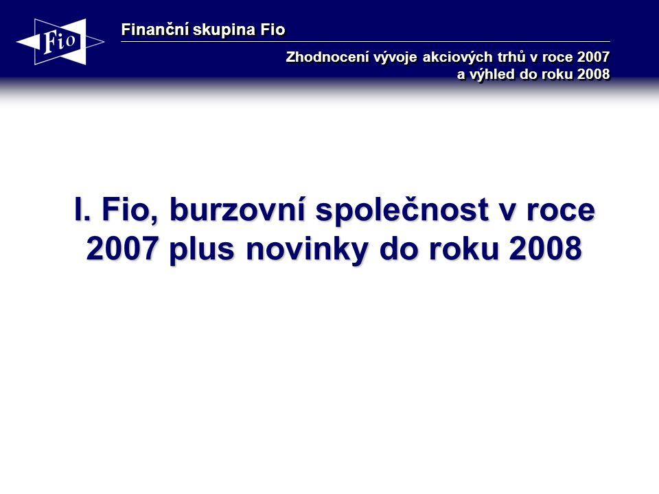 Finanční skupina Fio Zhodnocení vývoje akciových trhů v roce 2007 a výhled do roku 2008 I.