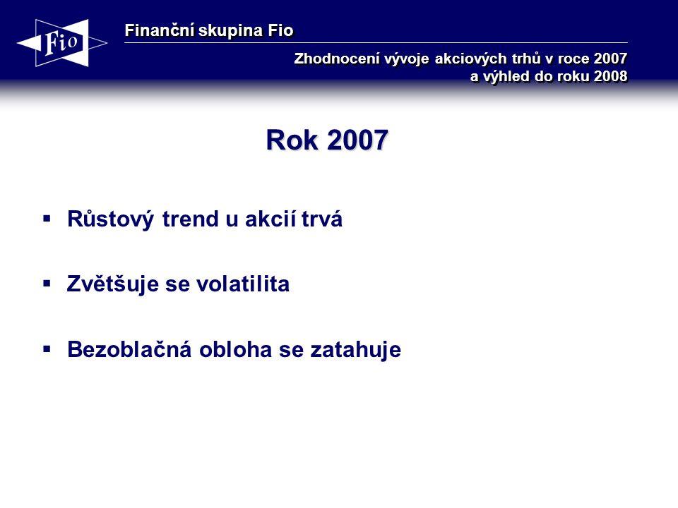 Finanční skupina Fio Zhodnocení vývoje akciových trhů v roce 2007 a výhled do roku 2008 Rok 2007  Růstový trend u akcií trvá  Zvětšuje se volatilita  Bezoblačná obloha se zatahuje