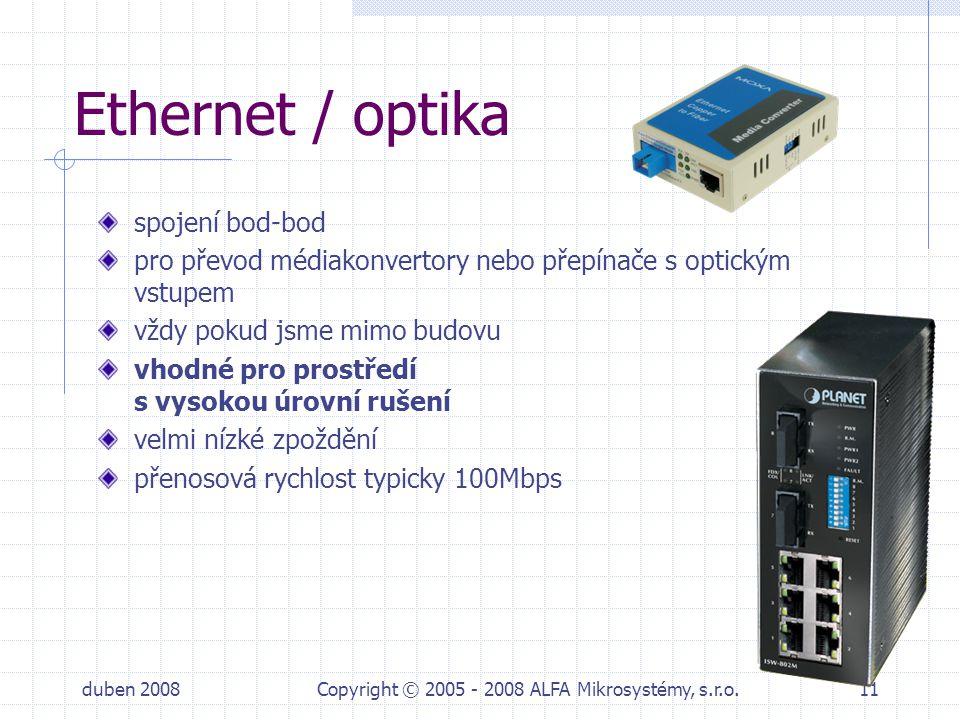 duben 2008Copyright © 2005 - 2008 ALFA Mikrosystémy, s.r.o.11 Ethernet / optika spojení bod-bod pro převod médiakonvertory nebo přepínače s optickým v