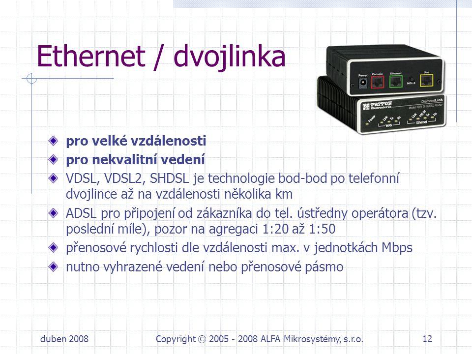 duben 2008Copyright © 2005 - 2008 ALFA Mikrosystémy, s.r.o.12 Ethernet / dvojlinka pro velké vzdálenosti pro nekvalitní vedení VDSL, VDSL2, SHDSL je t
