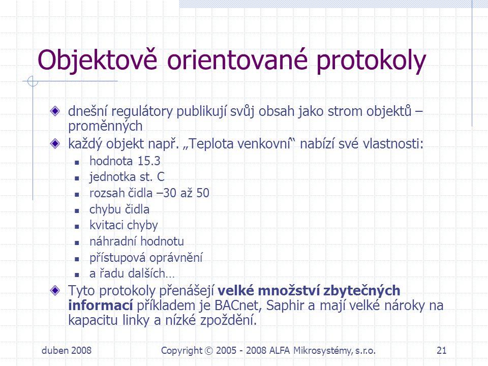 duben 2008Copyright © 2005 - 2008 ALFA Mikrosystémy, s.r.o.21 Objektově orientované protokoly dnešní regulátory publikují svůj obsah jako strom objekt