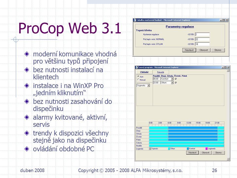 duben 2008Copyright © 2005 - 2008 ALFA Mikrosystémy, s.r.o.26 ProCop Web 3.1 moderní komunikace vhodná pro většinu typů připojení bez nutnosti instala