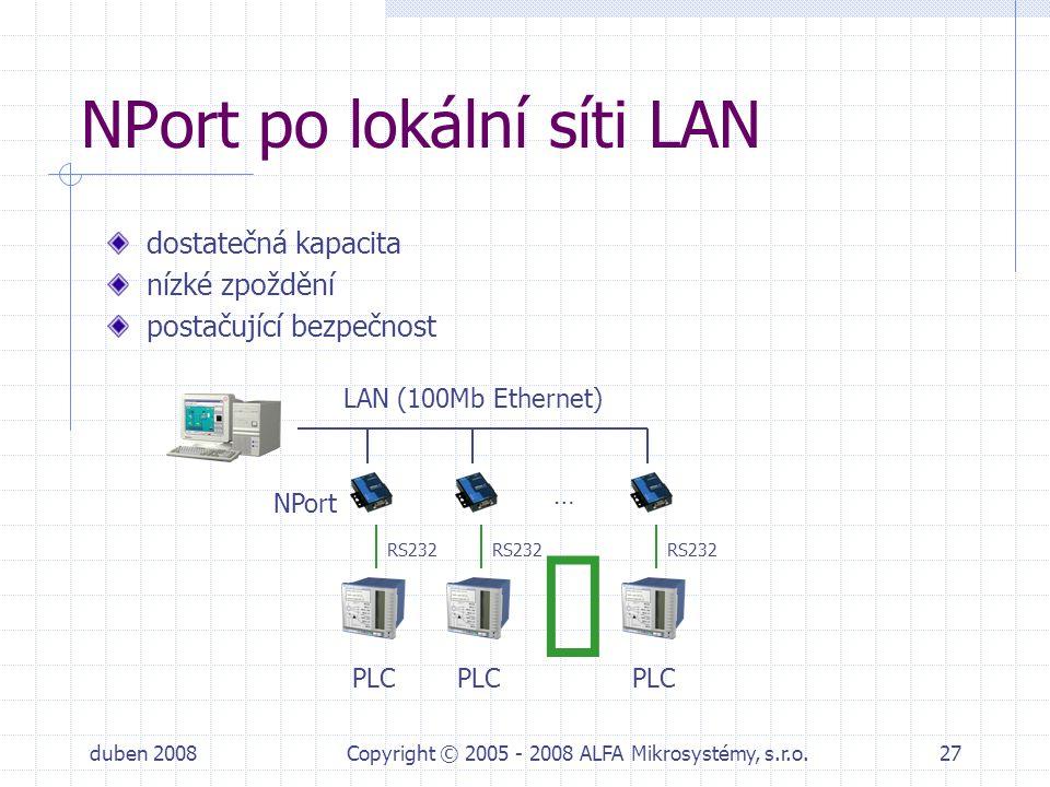 duben 2008Copyright © 2005 - 2008 ALFA Mikrosystémy, s.r.o.27 NPort po lokální síti LAN dostatečná kapacita nízké zpoždění postačující bezpečnost … PL