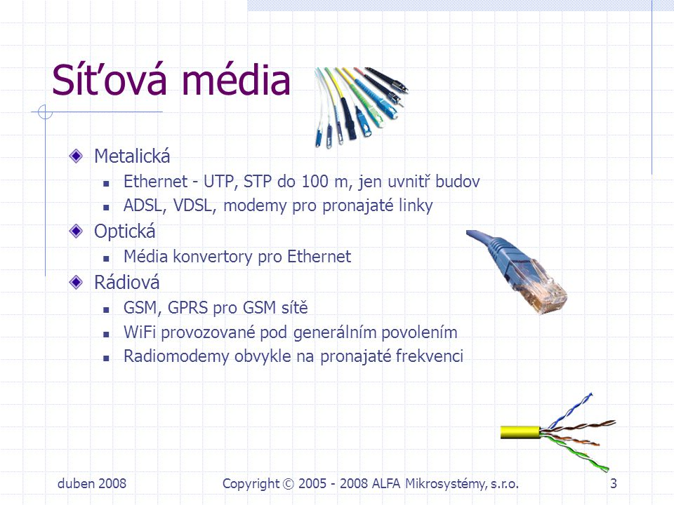 duben 2008Copyright © 2005 - 2008 ALFA Mikrosystémy, s.r.o.4 Protokoly v sítích Protokoly podle média: Ethernet na metalice, optice, WiFi LONMark na LONu ProfiBus na RS485 MBus, Modbus PPP na GPRS nebo modemu Síťové protokoly: spojově orientované (klasická telefonní linka) paketově orientované IP je paketově orientovaný protokol schopný běžet po různých médiích jako jsou metalická vedení optika, rádiové modemy,GPRS,… TCP je spolehlivá vrstva nad IP, bohužel není v technologiích příliš rozšířena