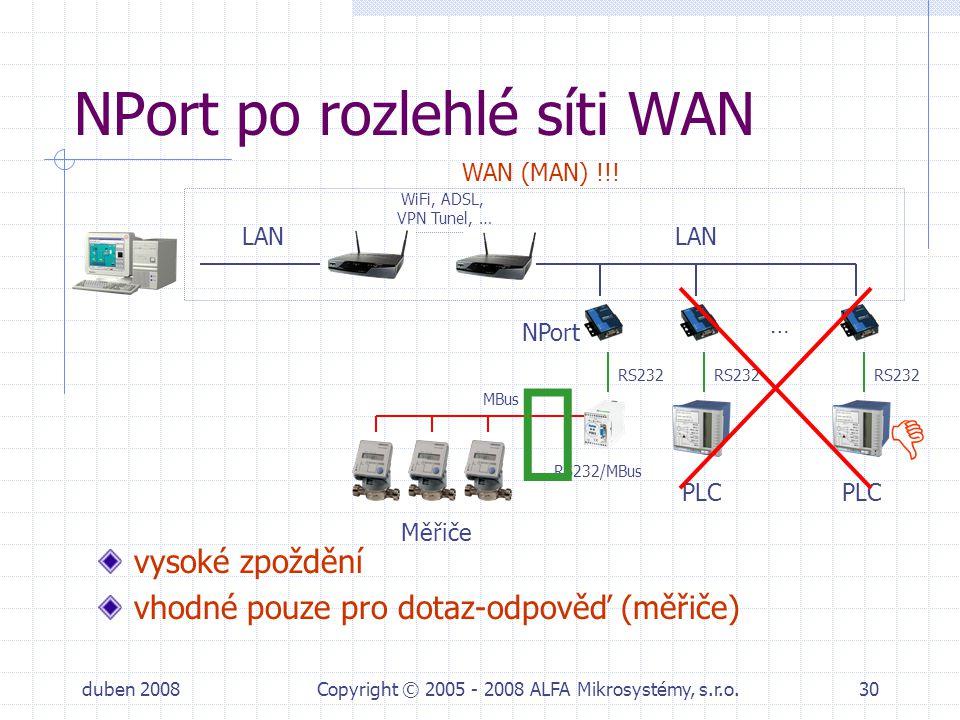 duben 2008Copyright © 2005 - 2008 ALFA Mikrosystémy, s.r.o.30 NPort po rozlehlé síti WAN vysoké zpoždění vhodné pouze pro dotaz-odpověď (měřiče) RS232