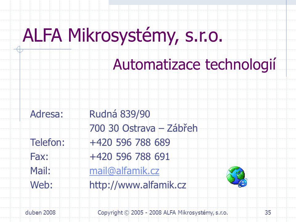 duben 2008Copyright © 2005 - 2008 ALFA Mikrosystémy, s.r.o.35 ALFA Mikrosystémy, s.r.o. Adresa: Rudná 839/90 700 30 Ostrava – Zábřeh Telefon: +420 596