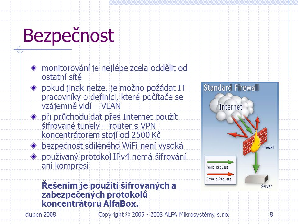 duben 2008Copyright © 2005 - 2008 ALFA Mikrosystémy, s.r.o.19 Rychlé potvrzování rámců každý rámec od protistrany musí být potvrzen krátkým bezadresným ACK a na jeden dotaz až několik odpovědí potvrzení musí být velmi rychlé (UNIGYR <170 ms) kritické je tedy zpoždění sítě a připojení přes převodníky Ethernet/RS232 NELZE jinak než v metalické LAN velký objem přenesených dat řešením je opět použití koncentrátoru dat AlfaBox Jaká je teplota .