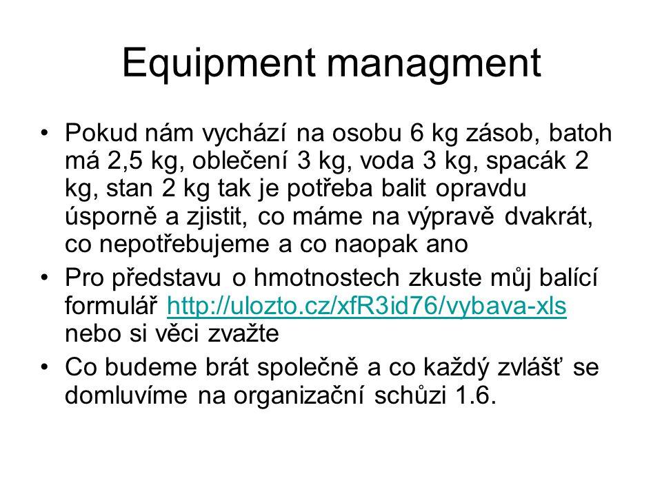 Equipment managment Pokud nám vychází na osobu 6 kg zásob, batoh má 2,5 kg, oblečení 3 kg, voda 3 kg, spacák 2 kg, stan 2 kg tak je potřeba balit opravdu úsporně a zjistit, co máme na výpravě dvakrát, co nepotřebujeme a co naopak ano Pro představu o hmotnostech zkuste můj balící formulář http://ulozto.cz/xfR3id76/vybava-xls nebo si věci zvažtehttp://ulozto.cz/xfR3id76/vybava-xls Co budeme brát společně a co každý zvlášť se domluvíme na organizační schůzi 1.6.