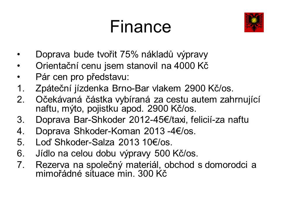 Finance Doprava bude tvořit 75% nákladů výpravy Orientační cenu jsem stanovil na 4000 Kč Pár cen pro představu: 1.Zpáteční jízdenka Brno-Bar vlakem 2900 Kč/os.
