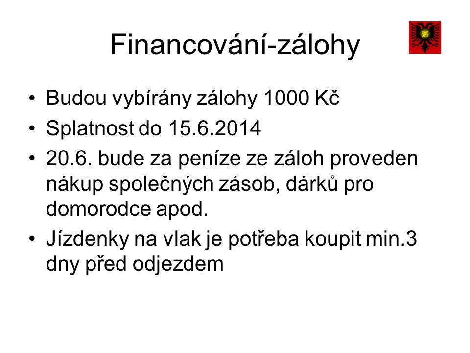 Financování-zálohy Budou vybírány zálohy 1000 Kč Splatnost do 15.6.2014 20.6.