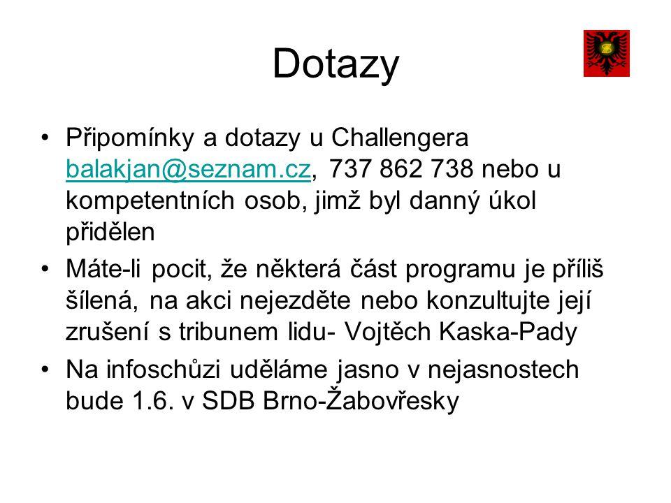 Dotazy Připomínky a dotazy u Challengera balakjan@seznam.cz, 737 862 738 nebo u kompetentních osob, jimž byl danný úkol přidělen balakjan@seznam.cz Máte-li pocit, že některá část programu je příliš šílená, na akci nejezděte nebo konzultujte její zrušení s tribunem lidu- Vojtěch Kaska-Pady Na infoschůzi uděláme jasno v nejasnostech bude 1.6.