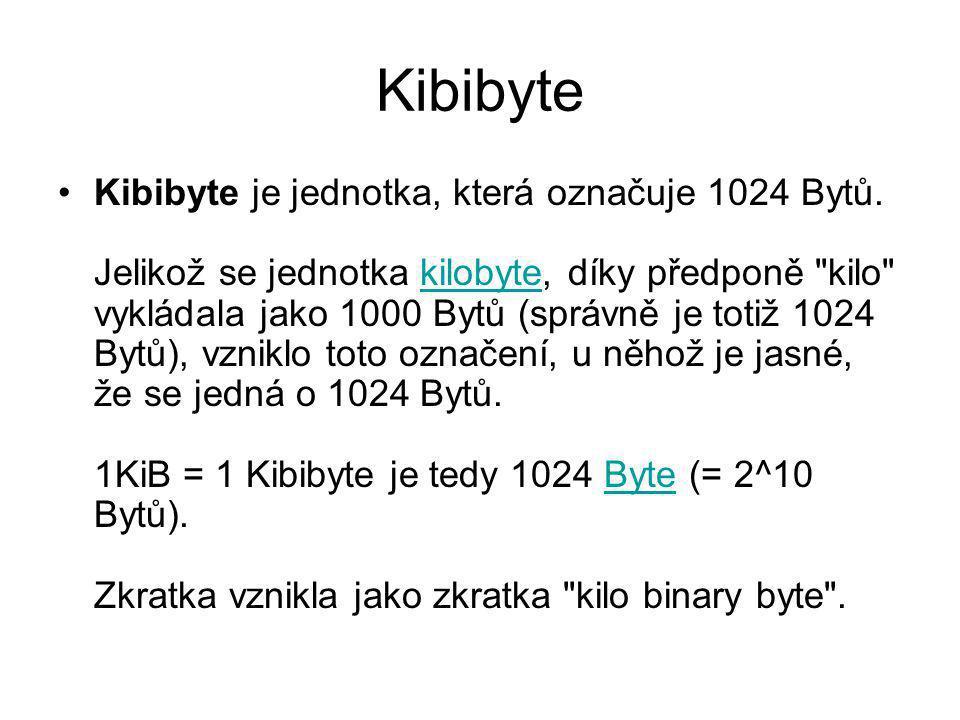 Kibibyte Kibibyte je jednotka, která označuje 1024 Bytů. Jelikož se jednotka kilobyte, díky předponě