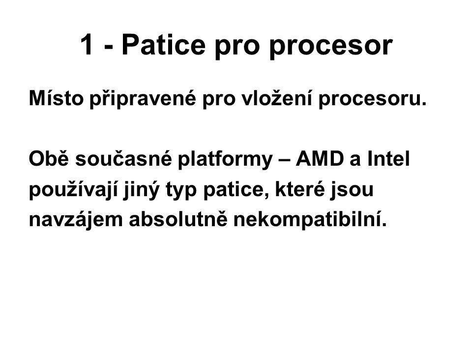 1 - Patice pro procesor Místo připravené pro vložení procesoru. Obě současné platformy – AMD a Intel používají jiný typ patice, které jsou navzájem ab